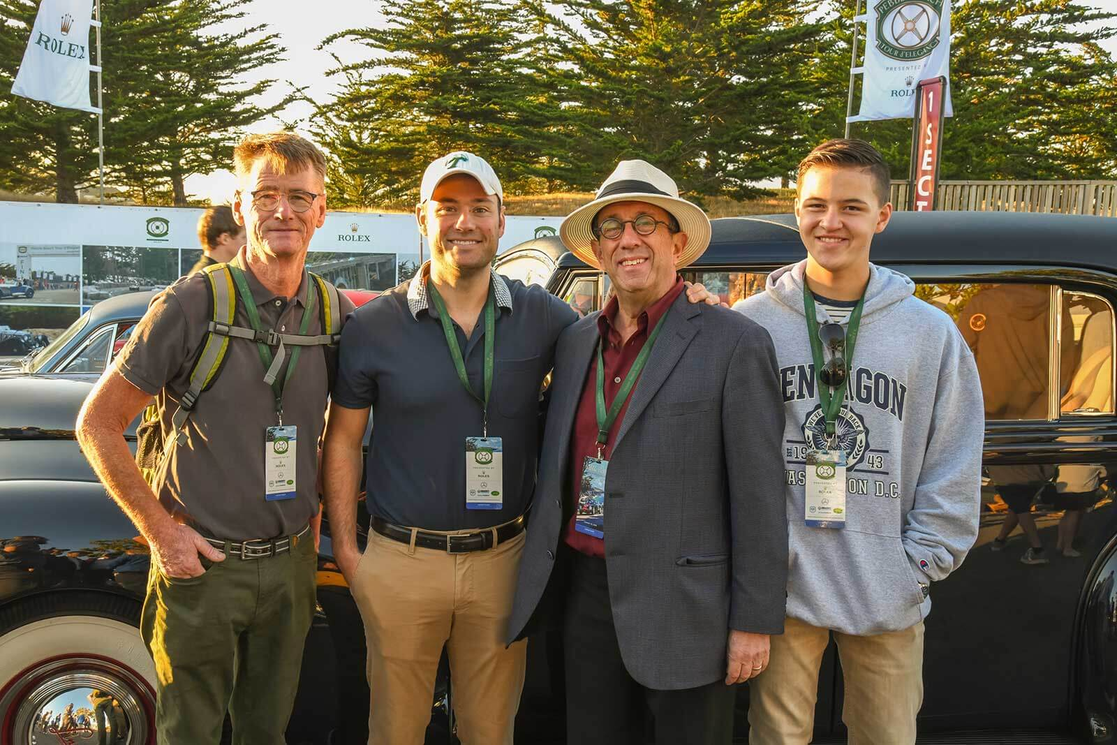 Friends and families gather at the start of the Pebble Beach Tour d'Elegance