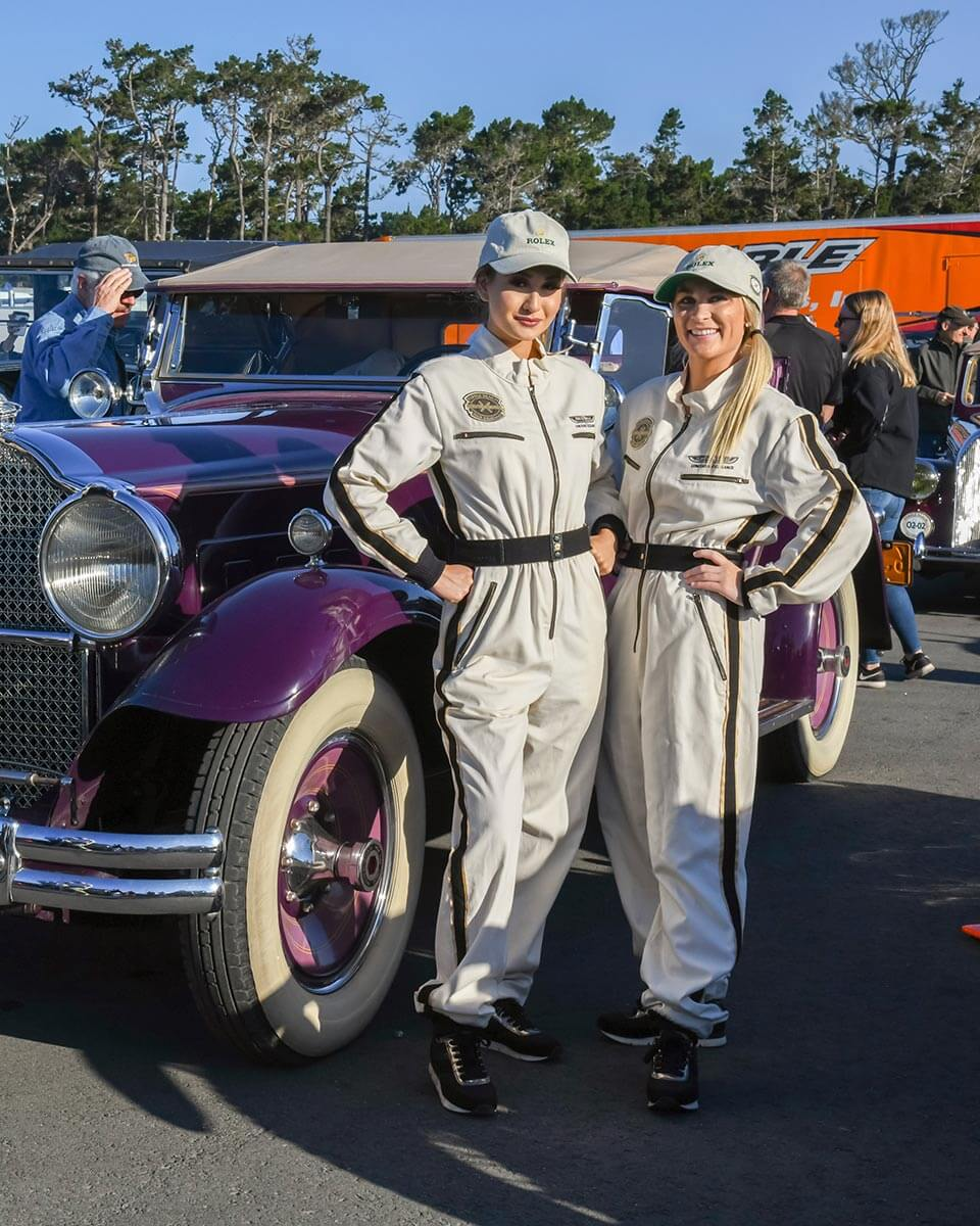 Volunteers at the start of the Pebble Beach Tour d'Elegance