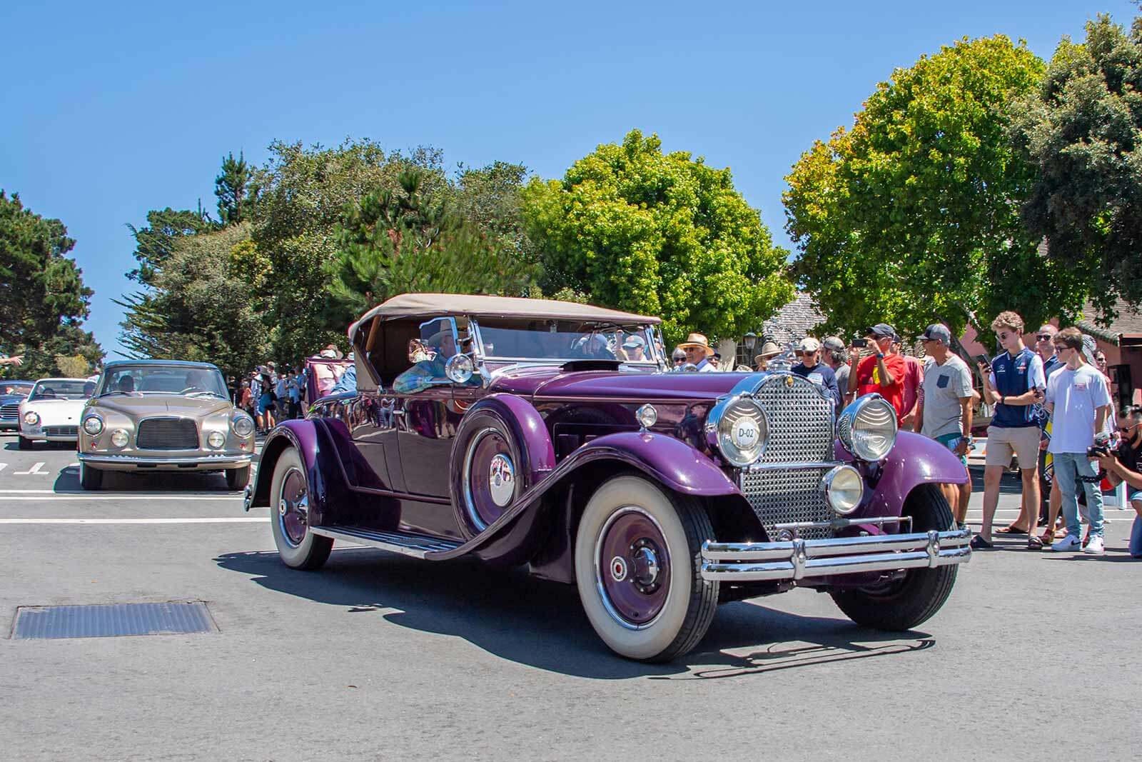 The Pebble Beach Tour d'Elegance makes a stop in Carmel-by-the-Sea, CA.