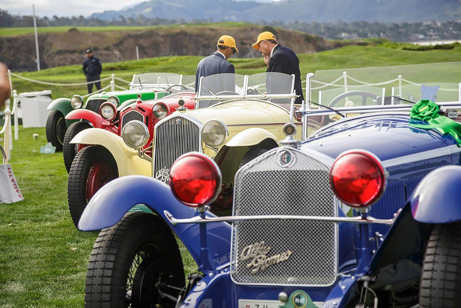 Alfa Romeos lined up at the Pebble Beach Concours d'Elegance